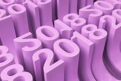 Grille de nouveaux chiffres violets de 2018 ans Images stock
