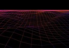 Grille de perspective de vecteur Fond abstrait de maille Montagnes polygonales r?tro fond de la science fiction 80s Illustration  illustration libre de droits