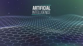 Grille du fond 3d Wireframe futuriste de réseau de fil de technologie d'AI Intelligence artificielle Fond de sécurité de Cyber illustration stock