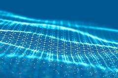 Grille du fond 3d Wireframe futuriste de réseau de fil de technologie de la technologie AI de Cyber Intelligence artificielle Séc Photos stock