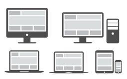 Grille et web design sensibles dans les icônes simplifiées Photographie stock libre de droits