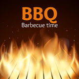 Grille with fire. BBQ vector poster. Grille with fire. BBQ poster. Flame for barbecue, cooking grilled, vector illustration Royalty Free Stock Photos
