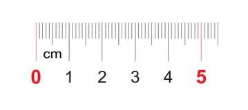 Grille pour une règle de 50 millimètres, 5 centimètres Grille de calibrage Division de valeur 1 millimètre
