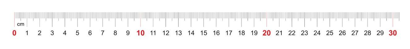 Grille pour une règle de 300 millimètres, 30 centimètres Grille de calibrage Division de valeur 1 millimètre