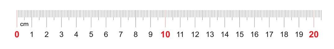 Grille pour une règle de 200 millimètres, 20 centimètres Grille de calibrage Division de valeur 1 millimètre