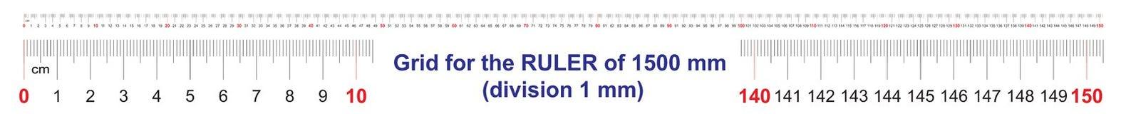 Grille pour une règle de 1500 millimètres, 150 centimètres, 1,5 mètres Grille de calibrage Division de valeur 1 millimètre