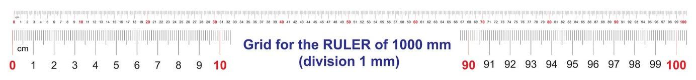 Grille pour une règle de 1000 millimètres, 100 centimètres, 1 mètres Grille de calibrage Division de valeur 1 millimètre