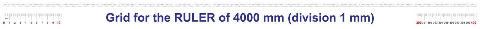 Grille pour une règle de 4000 millimètres, 400 centimètres, 4 mètres Grille de calibrage Division de valeur 1 millimètre