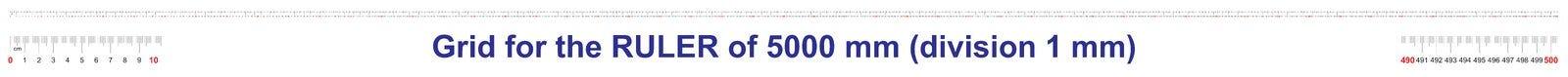 Grille pour une règle de 5000 millimètres, 500 centimètres, 5 mètres Grille de calibrage Division de valeur 1 millimètre