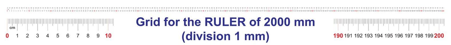 Grille pour une règle de 2000 millimètres, 200 centimètres, 2 mètres Grille de calibrage Division de valeur 1 millimètre