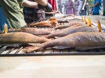 Grilled鱼特写镜头  免版税库存图片