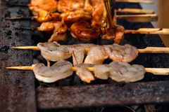 Grilled зажарило морепродукты на протыкальниках на решетке металла стоковые фотографии rf