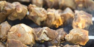 Grilled adobó el shashlik de la carne de la barbacoa del Cáucaso Foto de archivo libre de regalías