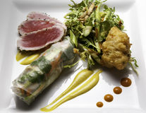 Ahi Tuna with Spring Roll Stock Photos