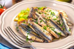 Grilled anchovy Stock Photos