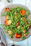 Grilled apricot and halloumi salad stock image