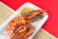 Grilled Argentinian Prawns Stock Images