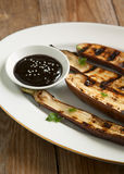 Grilled Asian long eggplant with Hoisin sauce Stock Image