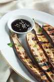 Grilled Asian long eggplant with Hoisin sauce Stock Photo