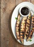 Grilled Asian long eggplant with Hoisin sauce Royalty Free Stock Photos