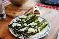 Grilled asparagus stock images