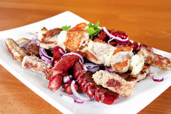 Grilled assorted meat Stock Photography