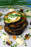 Grilled aubergine. With spring onion and mozzarella cheese stock image
