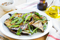 Grilled Aubergine salad with Rocket Royalty Free Stock Photo