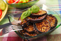Grilled aubergine with sesame seeds Stock Images