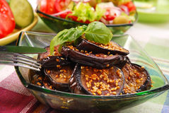 Grilled aubergine with sesame seeds Stock Image