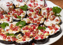 Grilled aubergine slices with tahine yoghurt Stock Photography