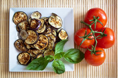 Grilled aubergines with basil and tomatoes. Platter of grilled aubergines with basil and fresh tomatoes on the vine Royalty Free Stock Image