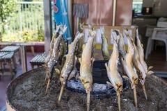 Grilled ayu fish at small shop Royalty Free Stock Photos