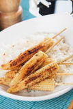Grilled baby corn Stock Image