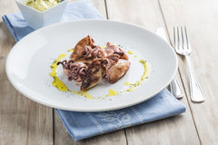 Grilled baby squids with garlic mayonnaise Stock Images