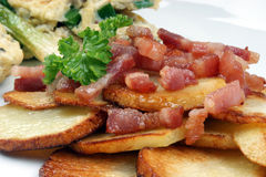 Grilled bacon with fried potato Stock Photos