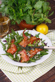 Grilled bacon with rucola salad and cheese Royalty Free Stock Photography