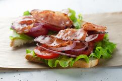 Free Grilled Bacon Sandwich On Paper With Salad, Tomato And Onion Stock Images - 183622234