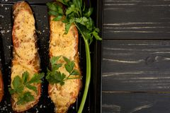 Grilled and baked eggplants Stock Images