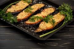 Grilled and baked eggplants Royalty Free Stock Images