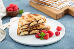 Grilled banana and chocolate sandwich Royalty Free Stock Photos