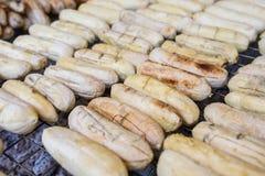 Grilled banana Stock Photos