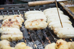 Grilled banana in the market Stock Photography
