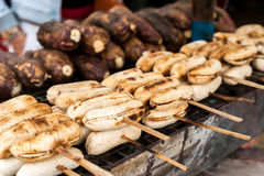 Grilled bananas at asian food market Royalty Free Stock Photo