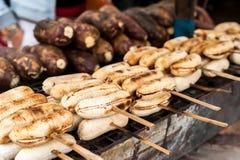 Grilled Bananas At Asian Food Market Royalty Free Stock Photo