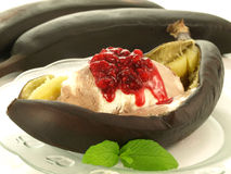 Grilled bananas with ice-cream Stock Photos
