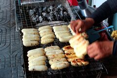 Grilled bananas, a popular street food in Bangkok, Thailand