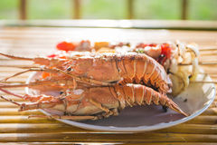 Grilled barbecue chicken and lobster on dish Royalty Free Stock Images