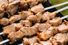 Grilled Barbecue Meat Shashlik Shish Kebab Pork Meat Grilling On Metal Stock Photography