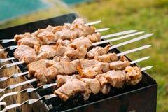 Grilled Barbecue Meat Shashlik Shish Kebab Pork Meat Grilling On Metal Skewer. Royalty Free Stock Photos
